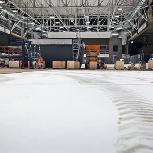 A view from the ice level during renovations