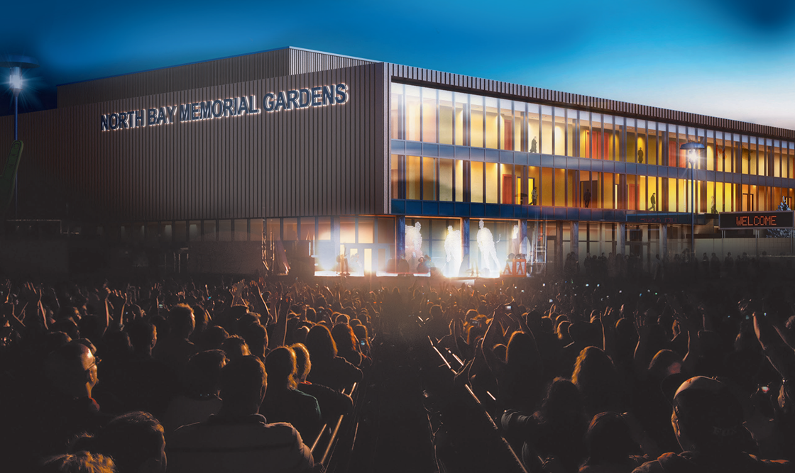 Artist's rendering of the outside of Memorial Gardens with a crowd looking at the building