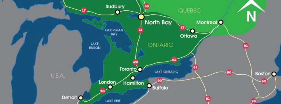 Map of Ontario showing North Bay's location within the province
