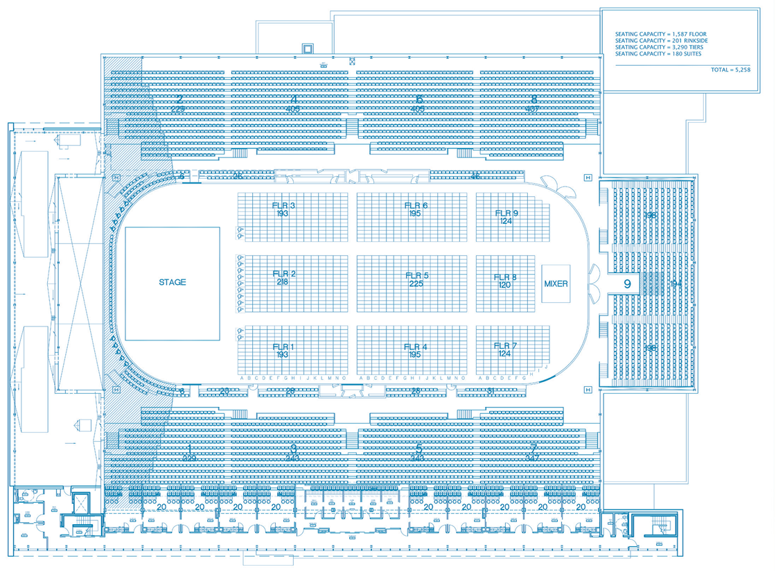 Seating chart showing the layout for a concert with a mixer board