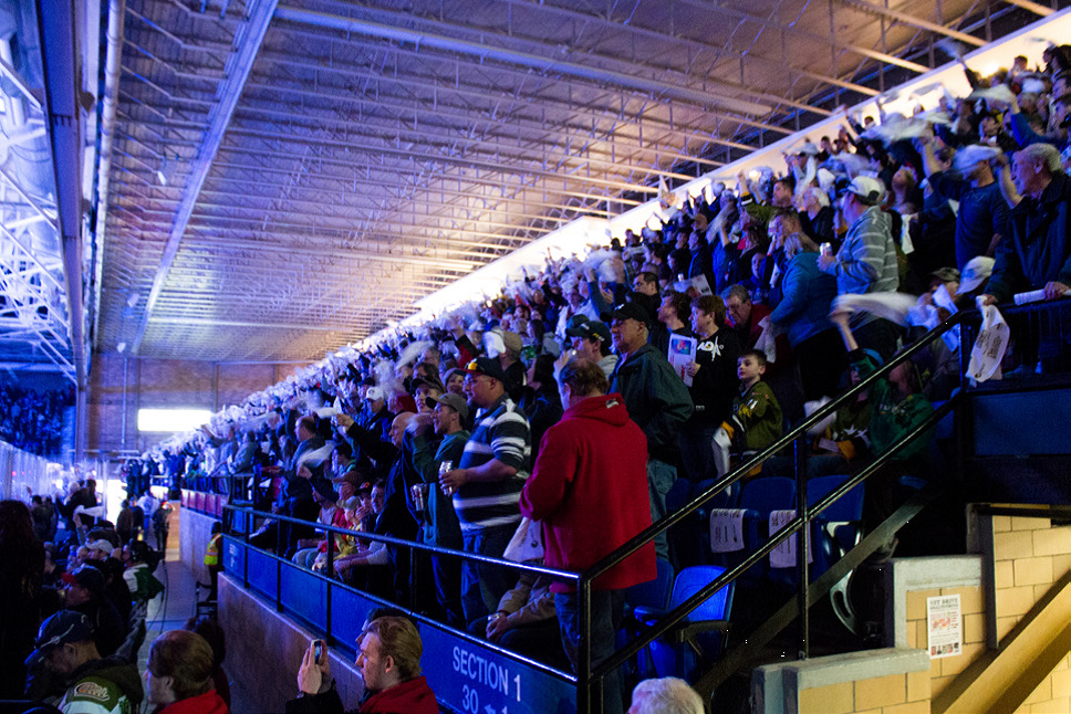Photo of a crowd in the tiered seats at Memorial Gardens